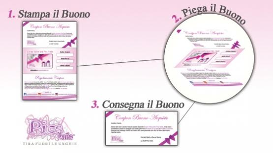 Buono Regalo Prodotti per Unghie, Come Presentare il Buono Pics Nails Stampato