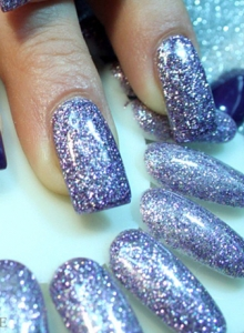 gel glitter unghie viola