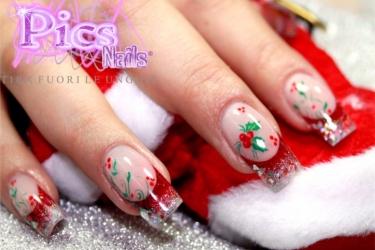 micro decorazione unghie natalizia