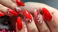 NAIL ART PIZZO ROSSO