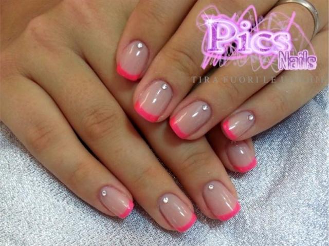 Nail French Rosa Neon | Pics Nails