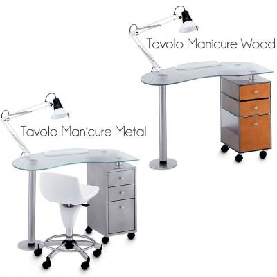 Tavolo Manicure in Vetro Metal Wood