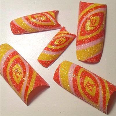 Unghie Glitter MultiColor Rosso-Giallo-Rosa