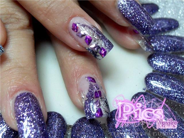 Super Unghie Glitter Viola e Nail Art | Pics Nails CV25