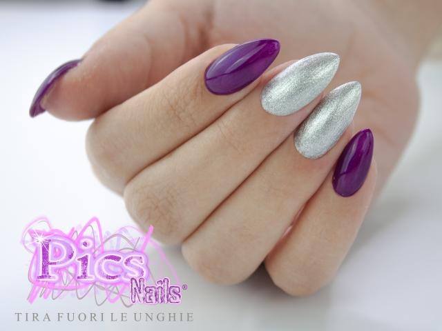 Unghie Semipermanente Argento Glitter